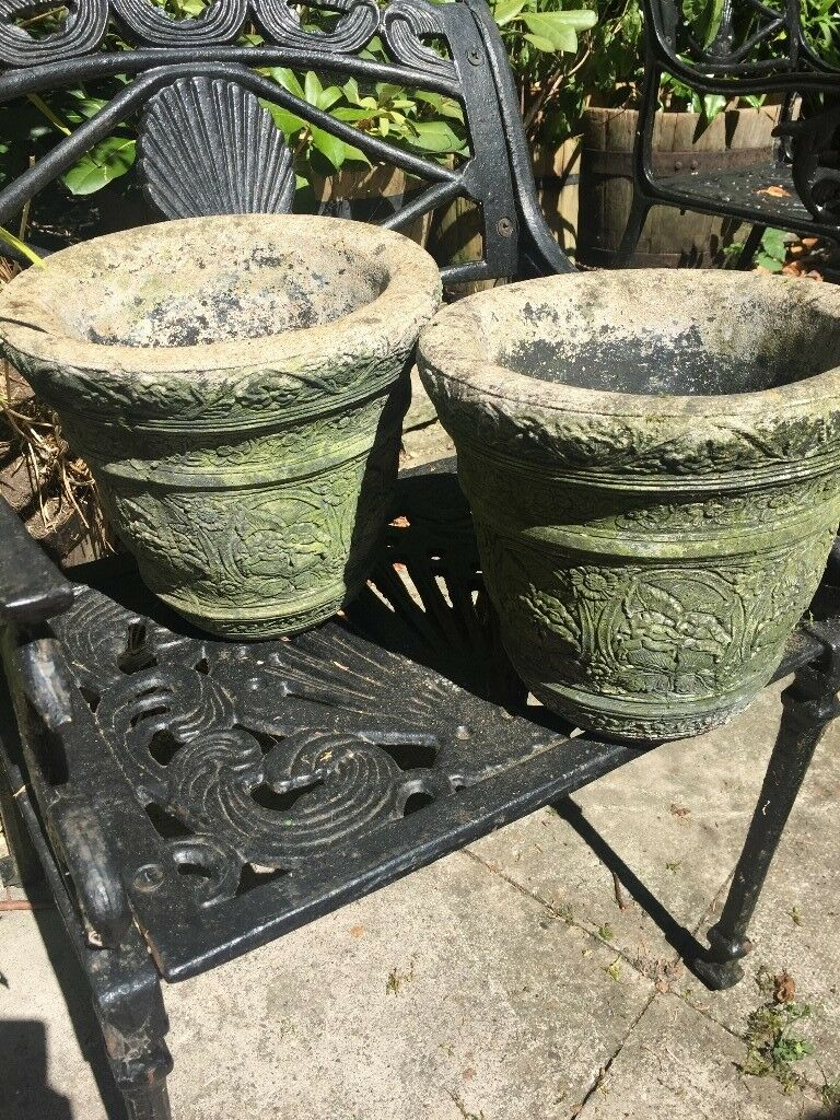 Pair Of Stone Plant Pots In Markyate Hertfordshire