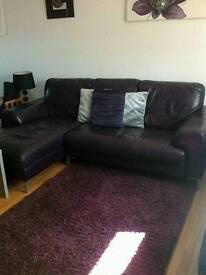 Purple leather corner sofa and 2 seater