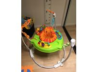 Jumparoo 3 months old hardly used, excellent condition. Folds flat for storage. Batteries included