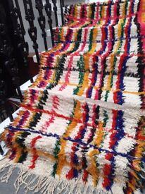 Mid Century Vintage Boucherouite Moroccan Runner Rug Carpet 93x197cm Handwoven Cleaned
