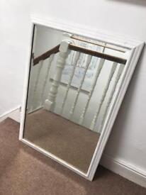 Large bevelled edge mirror painted shabby chic