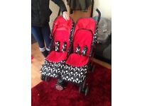 Brand new never used double pram suitable from birth