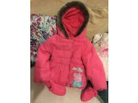 EXCELLENT PEPPA PIG BABY GIRL COAT 12-18m 1-1.5y NW6/Gunnebsury