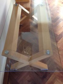 Solid oak with safety glass coffee table.