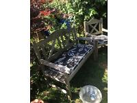 Teak bench and 2 chairs
