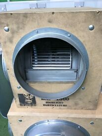 """Cheshunt Hydroponics Store - used 10"""" 1500m3 wooden acoustic box fan 250mm"""