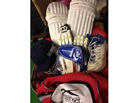 Cricket helmet, pads, gloves and bag