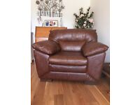 x2 BRAND NEW Brown Leather Armchairs