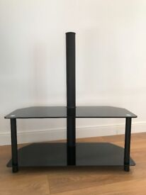 """Black Glass TV Stand, Up to 42"""", 2 shelves, Great condition, Used"""