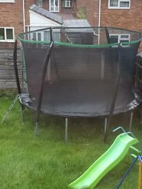 12 ft trampoline with enclosure and ladder