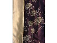 Purple and champagne full length pencil pleat curtains