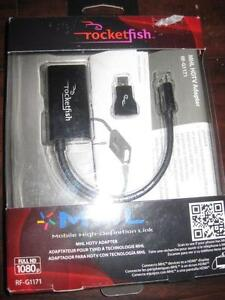 Rocketfish MHL HD TV Adapter. Micro USB to HDMI. Work with Samsung S3, S4, S5/ One Touch / Huawei / Sony Xperia / ZTE