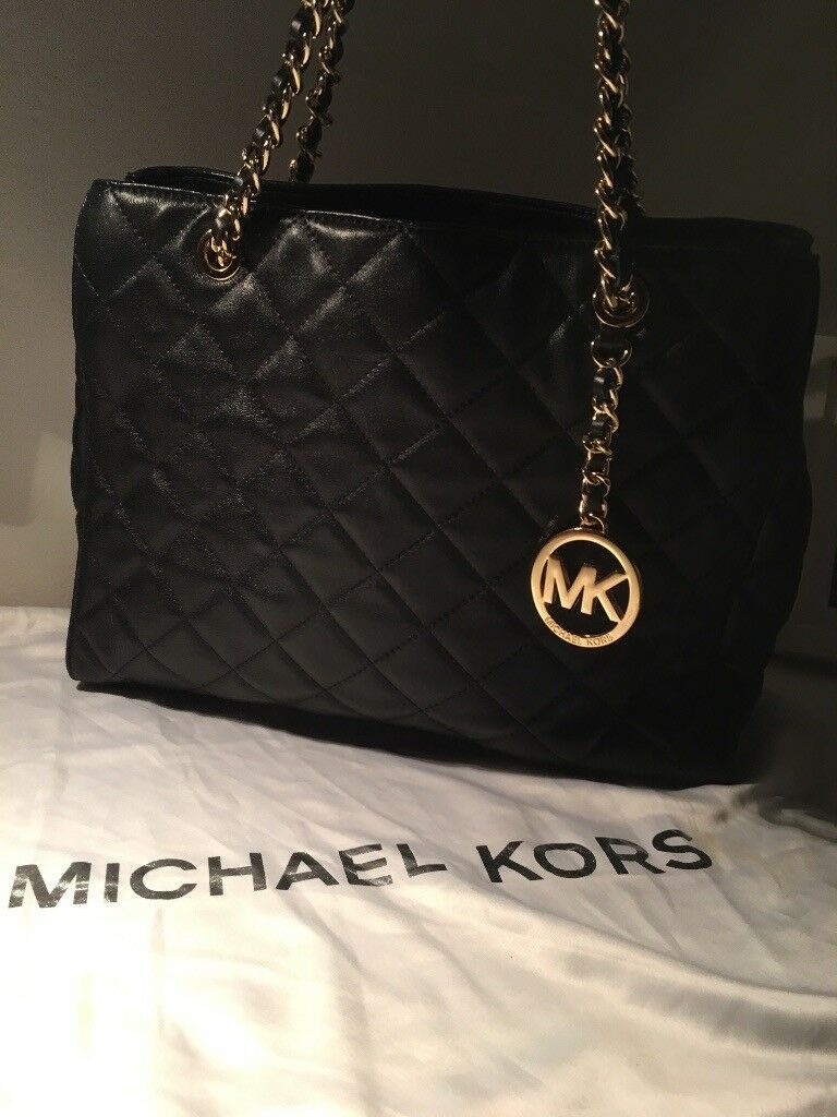 """5e39db6c9bc5 MICHAEL KORS Black Quilted Leather """"Susannah"""" Tote Size Medium ( Used Twice  )"""