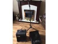 1 mic and stand with stage amp plus small amp