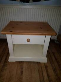 Shabby chic solid pine bedside table