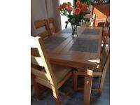 6 seater solid oak dinning table with cane chairs - purchase price over £800