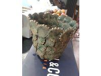 Handmade green plant pot