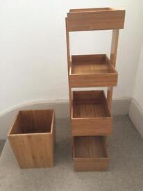 Bamboo bathroom caddy shelves and waste bin