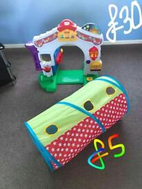 Fisher price house and tunnel