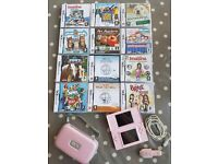 nintendo ds lite pink with 12 games and case and usb charging cable