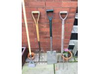 Spade forks and hoe all in good condition.