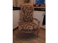 french style beech wood parlor highback chair, armchair, free local delivery available