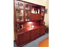 Tall Sideboard with Drinks Cabinet in Mahogany Finish