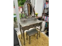Silver dressing table and chair