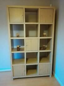 15 cube Oak effect display cabinet unit/media storage/bookshelf