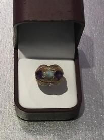 Rare vintage Turquoise and Amethyst 9ct Gold Ring