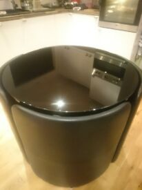 Hygena Black Gloss Space Saver Table and 4 Chairs