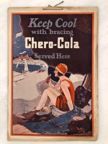 1920s CHERO-COLA Soda BATHING BEAUTY Beach SIGN Antique Advertising Swimming