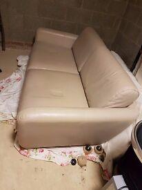 Cream Leather Sofa - perfect condition - FREE