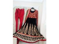 Asian Suit with Anarkali dress salwar/kameez, black and red luxury velvet. Heavy embroidery.