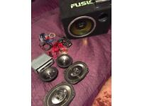 KENWOOD AMP FUSION SUBWOOFER SONY HEAD UNIT AUX KIT PIONEER SPEAKERS 6X9 6X5 £90 FULL SET UP
