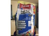 Mapei Grey Fast Set Tile Adhesive for walls, floors, interior, exterior, nearly full 10kg bag
