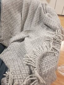 Grey Blanket with Fringes
