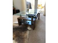 Dark Wood & Glass Coffee Table