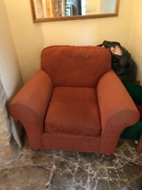 Sofa/sofa bed, single chair and poof with storage
