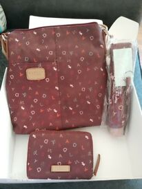 Radley burgundy handbag, purse and umbrella - NEW WITH TAGS RRP £100