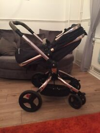 Rose Gold & Black mothercare orb pram