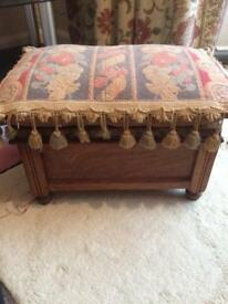 Wooden foot stall/sewing box antique