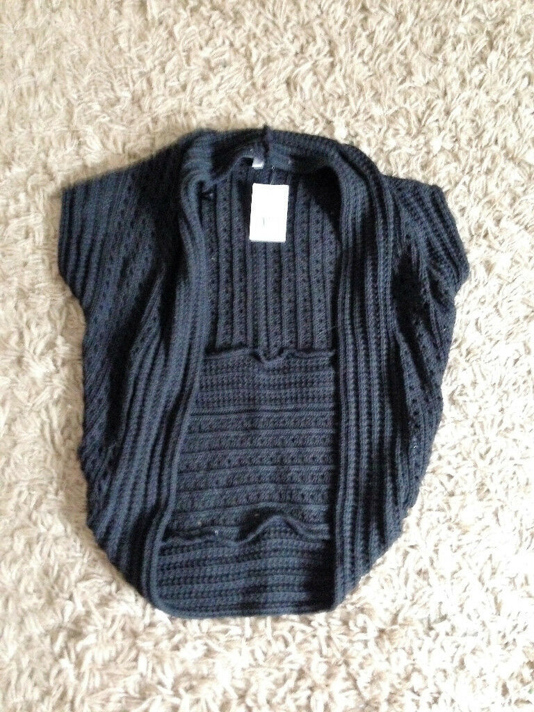 **BRAND NEW WITH TAGS** Womens size 8 black crochet waistcoat from Kookai