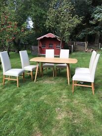 Ercol Dining Table and 6 Cream Leather Vanessa Chairs John Lewis