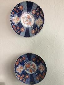 Pair Japanese Imari plates, antique