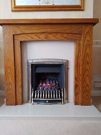 Gas Fire, Marble base & back and New Wooden Mantelpiece. Valor Fire - Dream model 940.