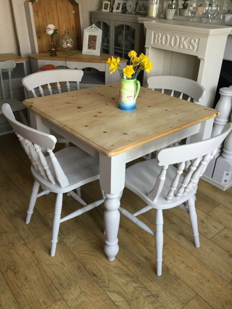 Solid Pine Painted Dining Kitchen Table And Chairs   in ...