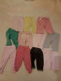 11 pairs of girls trousers 3-6 months
