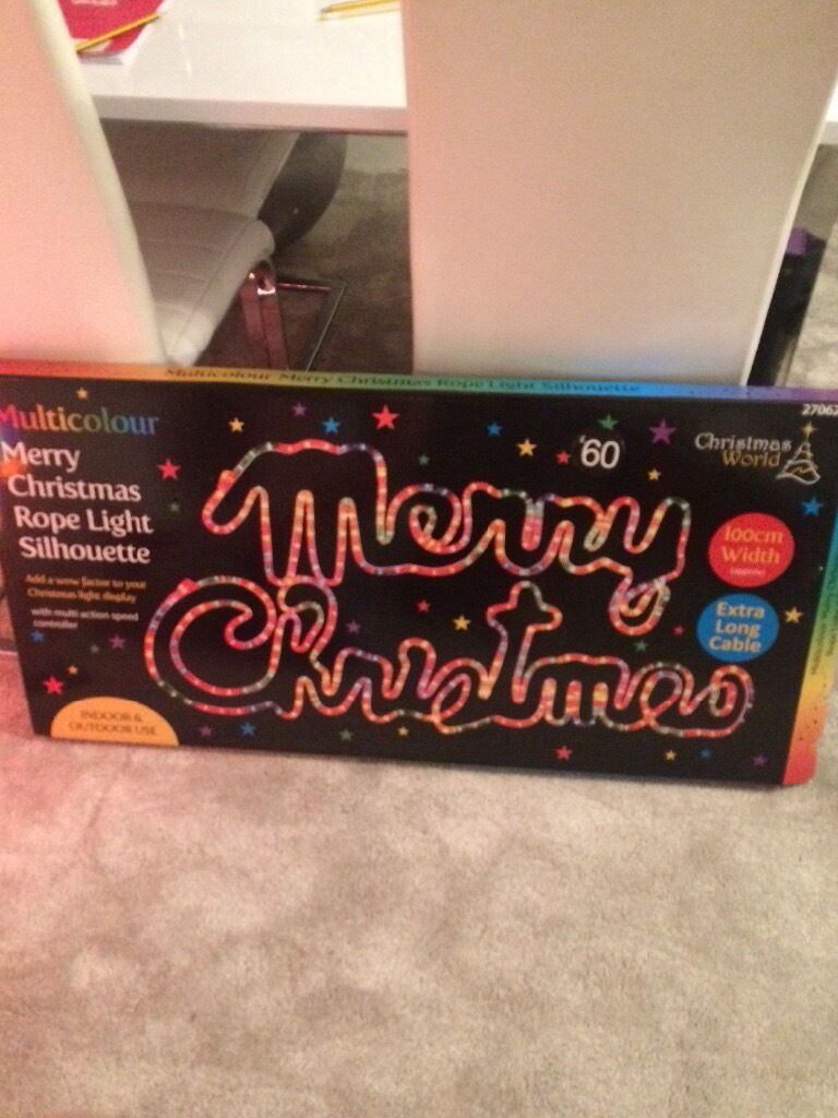 New 39 merry christmas 39 rope light sign large outdoor for Large outdoor christmas signs