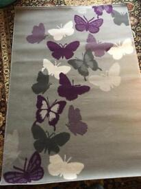 Grey butterfly rug 1.2m x 1.7m brand new